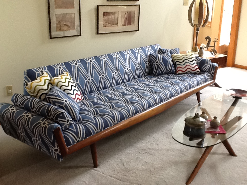 Delicieux This Mid Century Modern Sofa Was Reupholstered In A Malabar Ikat Print From  Thibaut Design. It Was Easy To Create A Diamond Effect In The Seat By  Following ...